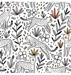 cheetahs hunting butterflies outline seamless vector image