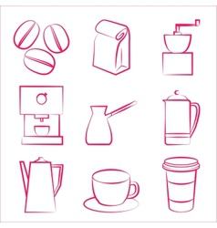 Coffe icons vector image