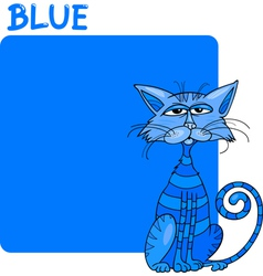 Color Blue and Cat Cartoon vector image