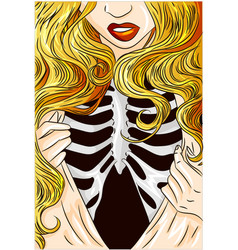 conceptual drawing a blonde woman opening up vector image