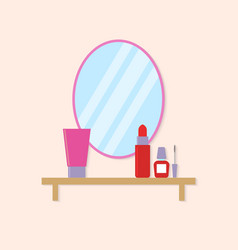 Cosmetics on the table near the mirror in the vector