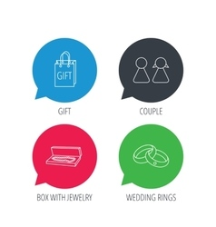 Couple gift and wedding rings icons vector