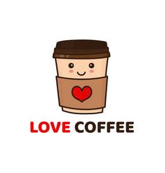 Cute funny happy paper coffee cup vector