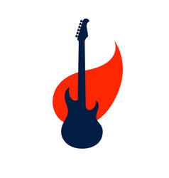 electric guitar on fire hot rock music guitar in vector image