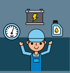 Employee battery speedometer and oil car service vector