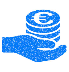 Euro salary grunge icon vector