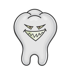 Evil smiling grin tooth cartoon vector