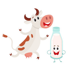 farm cow and milk bottle characters with smiling vector image