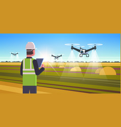 Farmer using drone sprayer quad copter flying to vector