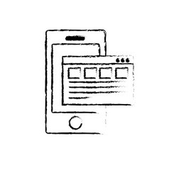 figure smartphone with business digital document vector image
