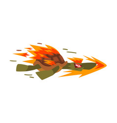 Fire fast turtle tortoise animal cartoon vector