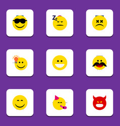 Flat icon expression set of smile pouting happy vector