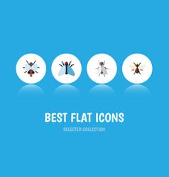 Flat icon housefly set of hum housefly vector