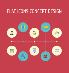 Flat icons trinket house wooden barrier and vector