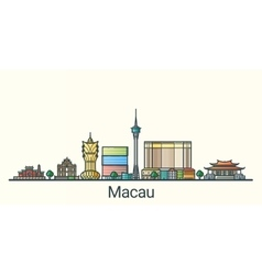 Flat line Macau banner vector image