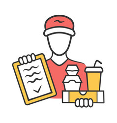 food delivery color icon express courier service vector image
