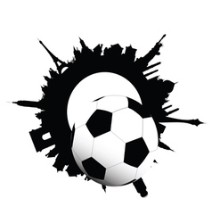 football ball and building of city vector image