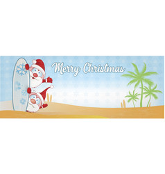 Fun santa claus cartoon on surf beach and palm vector