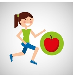 Girl jogger apple healthy lifestyle vector