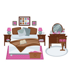 Glamour interior girls bedroom in pink and vector