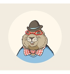 Hand drawn card for Groundhog Day vector