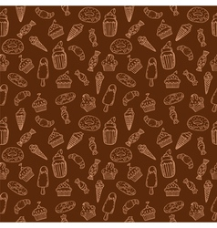 Hand drawn seamless pattern with cupcakes sweets vector