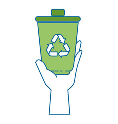 Hand taking recycle bin vector