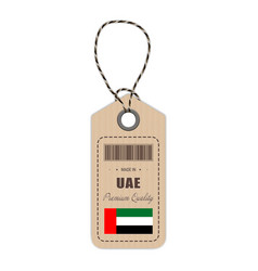 Hang tag made in united arab emirates with flag vector