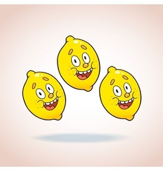 happy cartoon lemons vector image