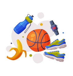 Healthy lifestyle objects sports equipment vector