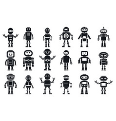 humanoid character icons set simple style vector image
