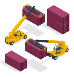 isometric mobile container handler in action at a vector image