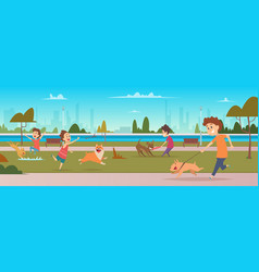 kids in park with dogs children jogging and vector image