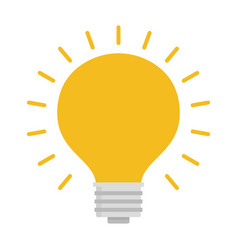 light bulb with rays shine energy and idea symbol vector image