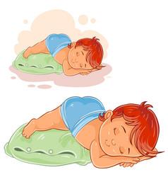 Little baby in a diaper lies a booty vector