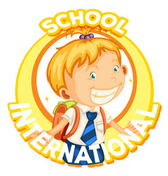 Logo design for international school vector