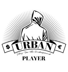 Man in hoodie hooded logo design urban vector