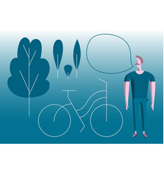 man with bike in park modern flat vector image