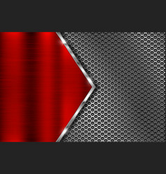 Metal perforated background with red triangle iron vector