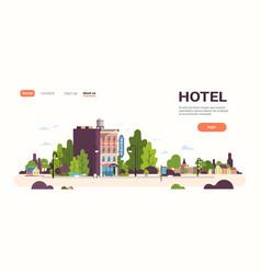 modern hotel house exterior hostel building for vector image