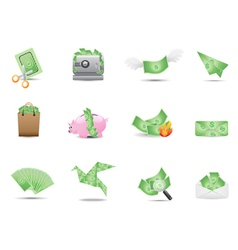 money icons set vector image