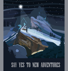mountains background at night travel theme vector image