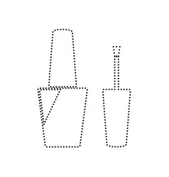 nail polish sign black dotted icon on vector image