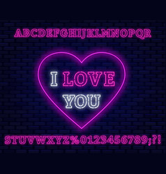 Neon sign i love you pink font vector