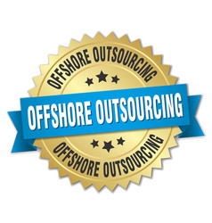 offshore outsourcing round isolated gold badge vector image