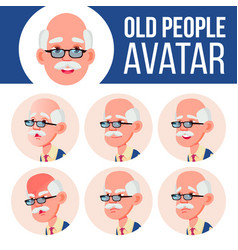 Old man avatar set face emotions senior vector