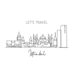 one single line drawing istanbul city skyline vector image