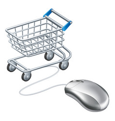 Online shopping cart mouse vector