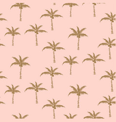 palm trees gold on pink retro style seamless vector image