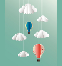 Paper clouds and balloons on blue background vector